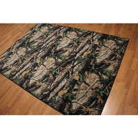Black/Green/Beige Modern Rustic Print Indonesian High-density Rug - 5'4 x 7'8