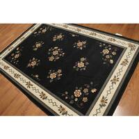 Indonesian Transitional Multicolor Floral Border High-density Hand-carved Effect Area Rug (5' 4 x 7' 8)