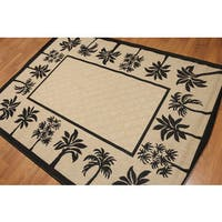 Palm Trees Indoor/Outdoor Turkish Dhurry Rug - 5'4 x7'8