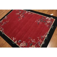 Asian-Inspired Floral Screen High-Density Indonesian Modern Oriental Rug - 5'4 x7'8