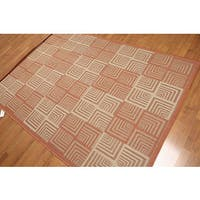 Contemporary Teracota & Beige Machine Made Indoor Outdoor Turkish Dhurry Rug - Multi-color