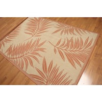 Terracota & Beige Palm Fronds Machine Made Indoor Outdoor Turkish Dhurry Rug - Multi-color
