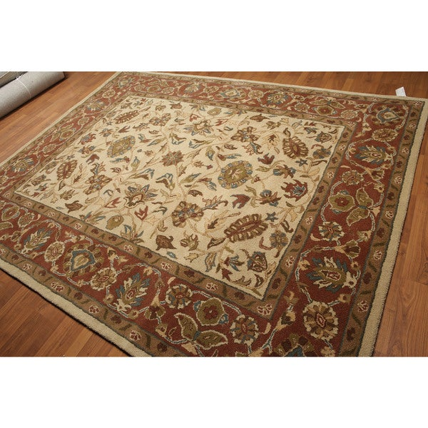 Ivory/Rust/Multicolor Wool Classic Border Hand-tufted Oriental Area Rug (8' x 10') - Multi-color