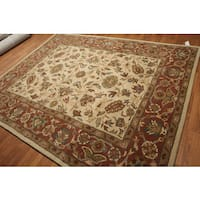 Ivory/Rust/Multicolor Wool Classic Border Hand-tufted Oriental Area Rug - 8' x 10'