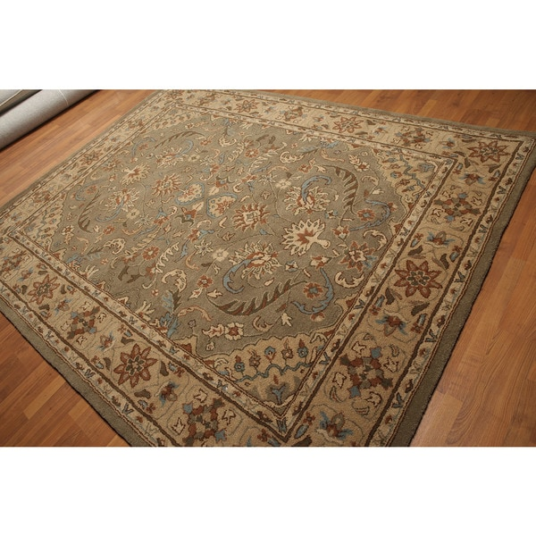 Tan/Multicolored Pure Wool Transitional Hand-tufted Persian Oriental Rug (8' x 11')