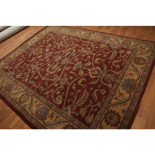 Rich Classic Traditional Oriental Hand-tufted Burgundy/Tan/Multicolored Wool Rug - 8' x 10'
