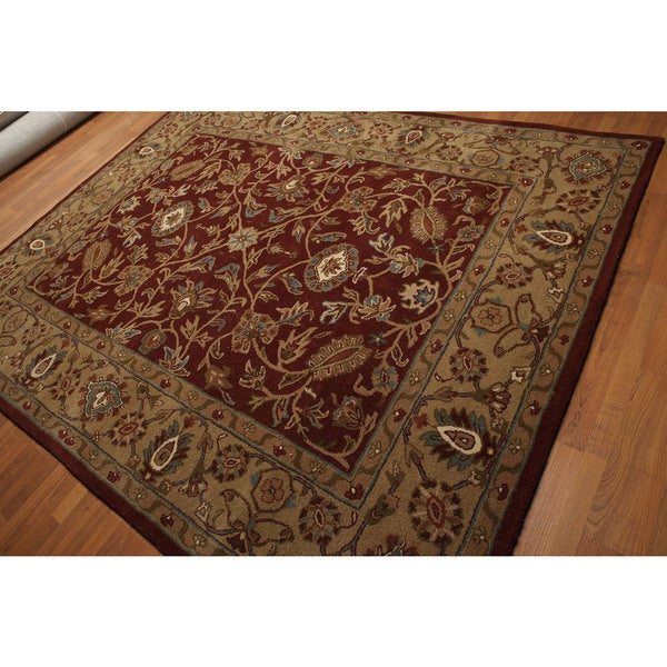 Tan/Multicolored Pure Wool Broad Classic Border Traditional Hand-tufted Oriental Rug - 8' x 10'