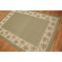 Indoor Outdoor Palm Trees Border Contemporary Turkish Dhurry Rug - 5'x7'
