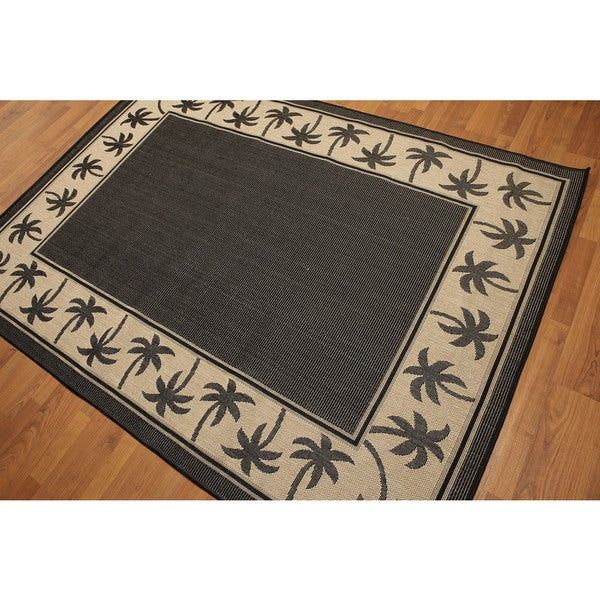Contemporary Palm Trees Border Indoor Outdoor Turkish Dhurry Rug - Black/Beige - 5' x 7'