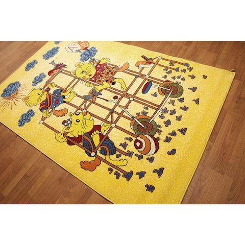 Playground Print Kids Room Nursery Machine Made Modern Rug - Mustard Yellow/Blue - 5' x 7' - Mustard Yellow/Blue - 5' x 7'