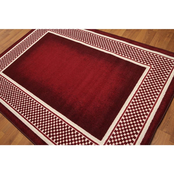 Country Cottage Casual Machine Made Polypropylene Modern Rug - Red/Ivory - 5' x 7'