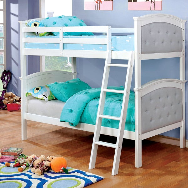 Furniture Of America Brady Contemporary Tufted Twin Over Twin Bunk Bed