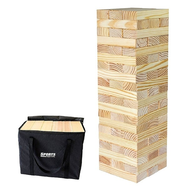 Sports Festival ® Giant Wooden Tumbling Timbers Tower with Storage Bag. Opens flyout.