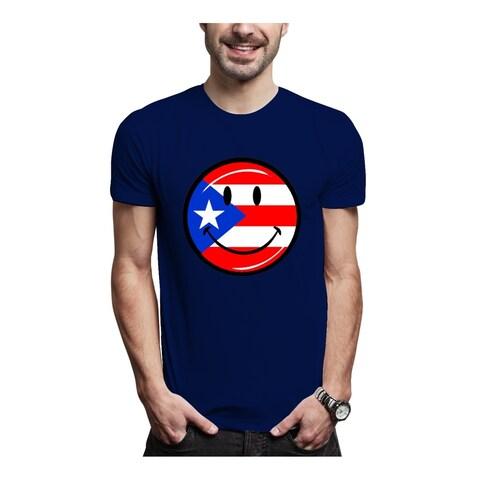 AFONiE Puerto Rico Smiley Face Cotton Men Tee