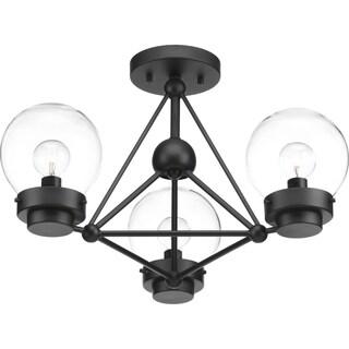 Progress Lighting Spatial Matte Black Steel 3-light Semi-flush/Convertible Fixture