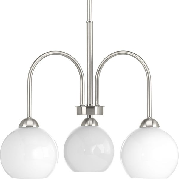 Progress Lighting Carisa Metallic Grey Steel/Glossy White Globe Shades 3-light Chandelier