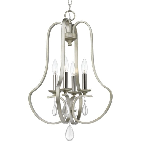 Progress Lighting Anjoux Silvertone Steel 4-light Pendant with Crystal Accents