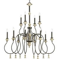 Progress Lighting Bergamo Brown/Weathered Stone Steel 12-light Chandelier