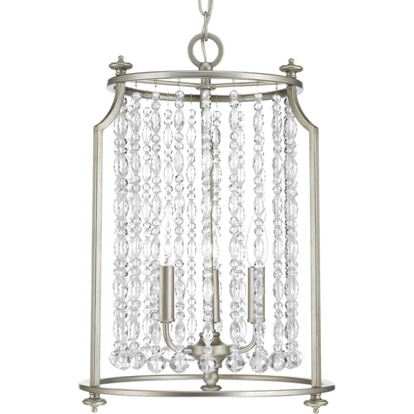 Progress Lighting Desiree Silver Ridge Steel with Clear Crystals 3-light Pendant