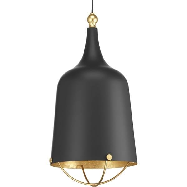 Progress Lighting Era Black/Gold Leaf Steel 1-light Pendant