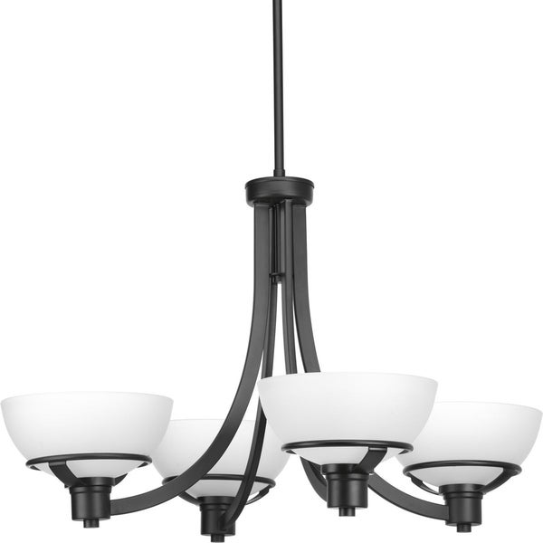 Progress Lighting Domain Matte Black Steel with Glass Shades 4-light Chandelier