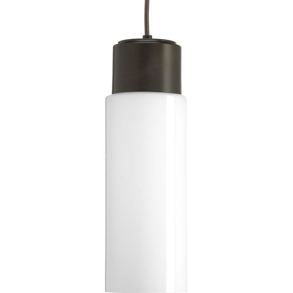 Progress Lighting Neat Brown Steel LED 1-light Pendant with Opal Glass Shade