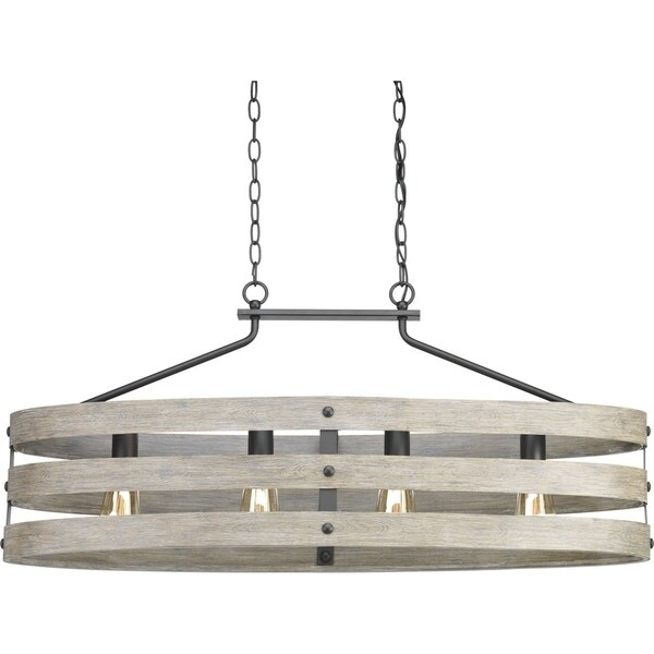 Progress Lighting Gulliver Graphite/Weathered Grey Steel 4-light Island Light