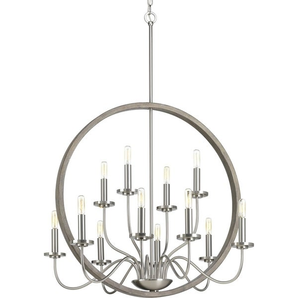Fontayne Brushed Nickel/Grey Steel 12-light Chandelier