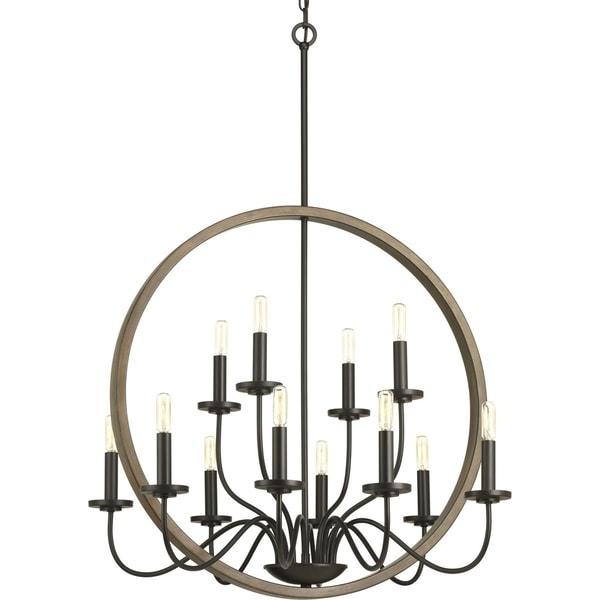 Progress Lighting Fontayne Two-tone Antique-bronze-and-faux-oak-finished Steel 60-watt 12-light Chandelier