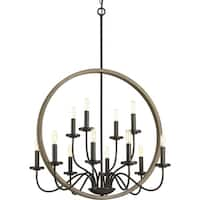 Progress Lighting Fontayne Two-tone Antique-bronze-and-faux-oak-finished Steel 60-watt 12-light Chandelier