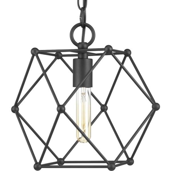 Progress Lighting Spatial Matte Black Steel Mini Pendant