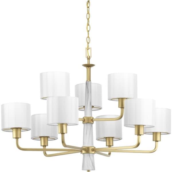 Progress Lighting Palacio Gold Steel and Glass 9-light Chandelier