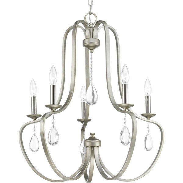 Progress Lighting Anjoux Grey Steel/Crystal 5-light Chandelier