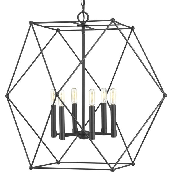 Progress Lighting Spatial Black Steel Six-Light Pendant