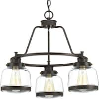 Progress Lighting Judson Brown Steel Glass 3-light Chandelier