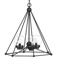 Progress Lighting Spatial Black Steel 3-light Chandelier