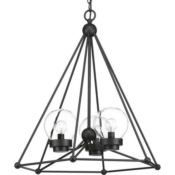 Progress Lighting Spatial Black Steel 3-light Chandelier