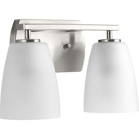 Leap Collection 2-Light Brushed Nickel Etched Glass Modern Bath Vanity Light