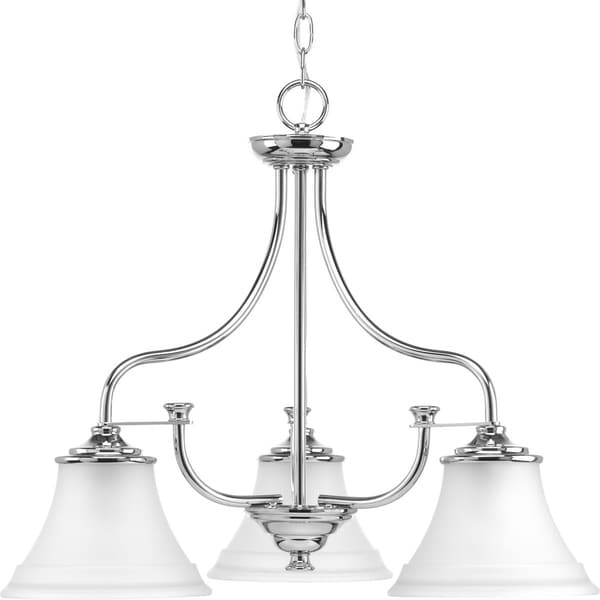 Progress Lighting Tinsley Silver Steel with Etched Glass Shades 3-light Chandelier