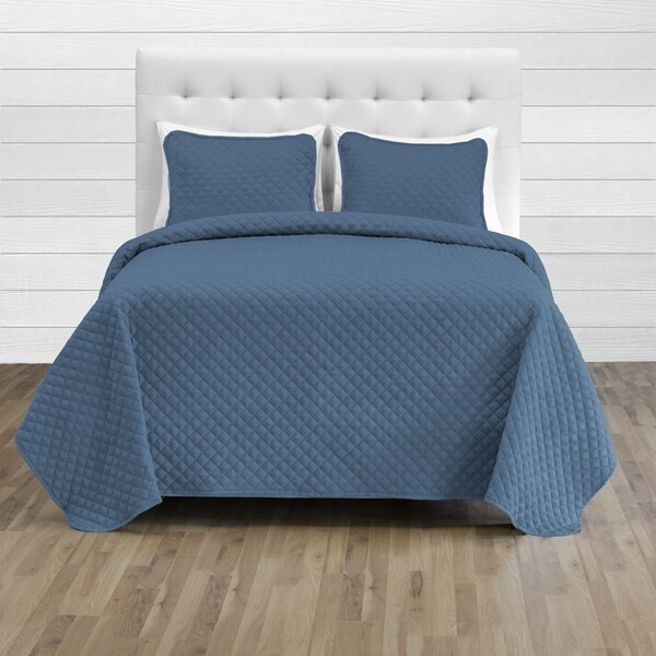 Teal 3-Piece Microfiber Stitched Lightweight Bedspread Coverlet Set