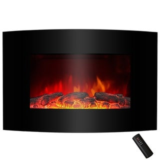 """AKDY FP0046 36"""" Tempered Glass Electric Fireplace Heat Wall Mount Adjustable 1500W Heater 2 Setting"""