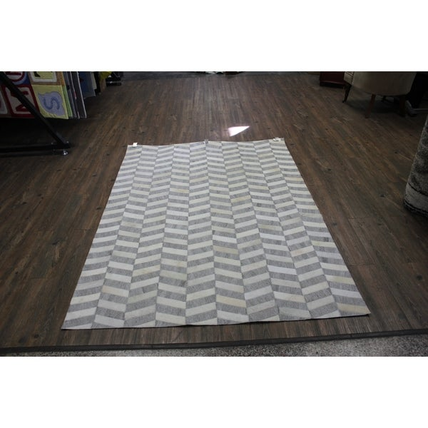 Shop Hair On Hide Silver Leather Rug With Felt Backing 7