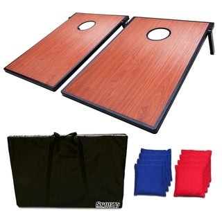 Sports Festival ® Cornhole Game Set w/ Tic Tac Toe - Wooden Pattern