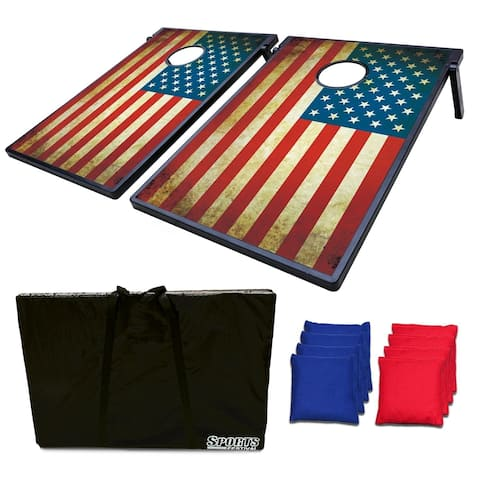 Sports Festival ® Cornhole Game Set w/ Tic Tac Toe - Antique US Flag