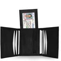 AFONiE Billfold with Removable ID Pocket Genuine Leather Trifold