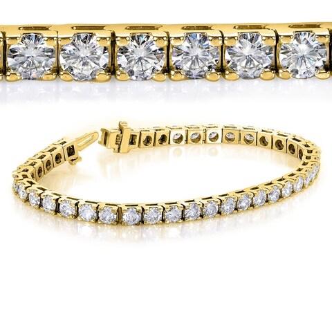 Annello by Kobelli 10k Yellow Gold 10ct TGW Round-cut Moissanite Tennis Bracelet