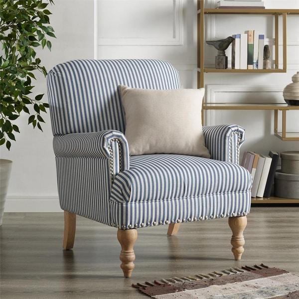Shop Copper Grove Tarnovo Blue-striped Accent Chair