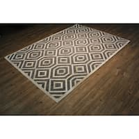 Handmade Leather with Felt Backing Authentic Grey Area Rug - 5' x 7'