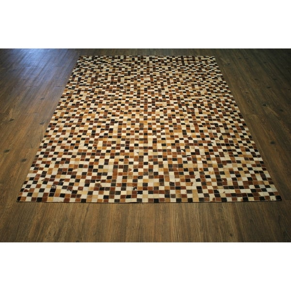 Multi Brown Hair-on Hide Leather Rug with Felt Backing - 5' x 7'