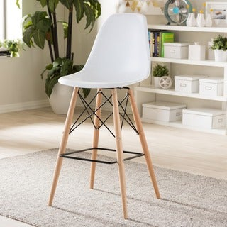 Modern Faux Leather Bar Stool by Baxton Studio in White (As Is Item)
